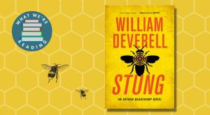 Stung book cover on honeycomb background